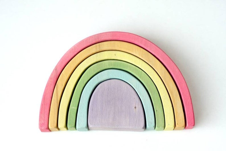 pastel colored waldorf wooden rainbow toy