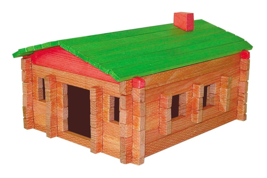 roy toys wooden log cabin toy