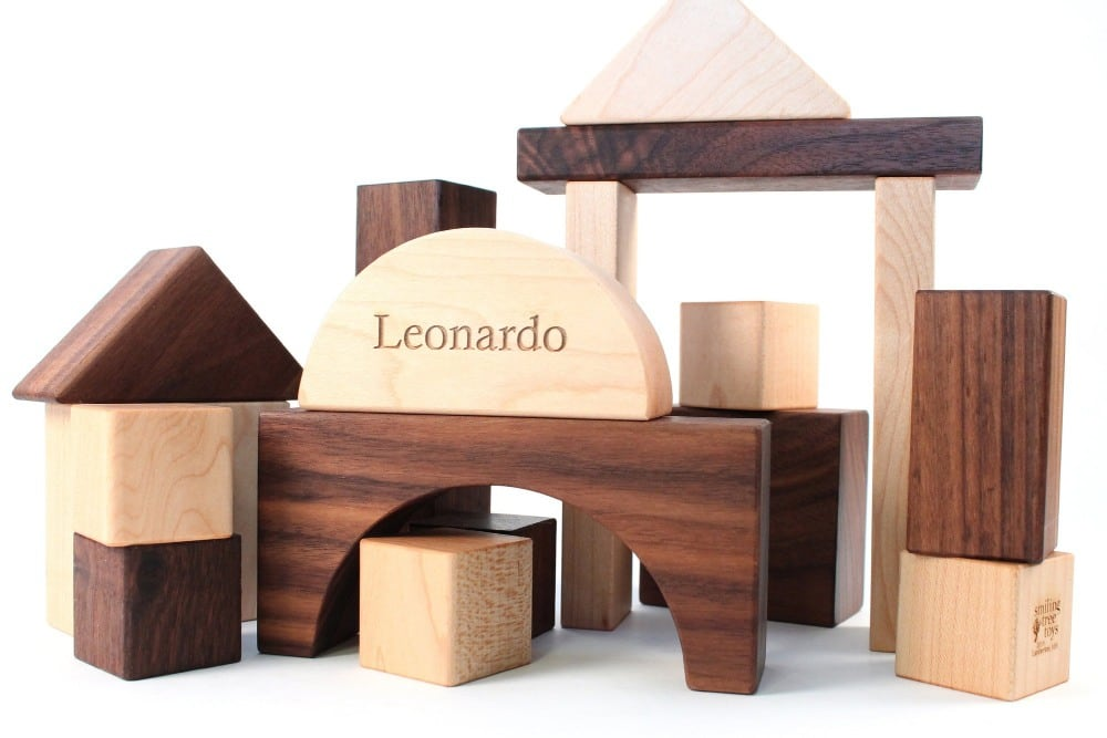 smiling tree toys etched name wooden blocks