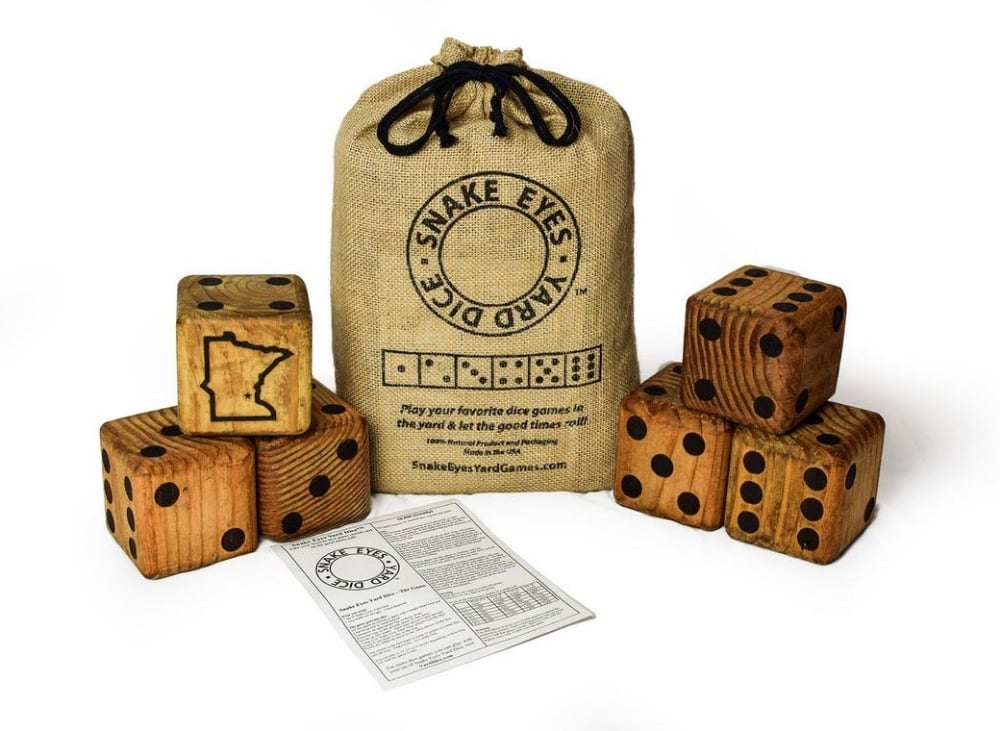 snake eyes brand giant wooden dice for lawn games