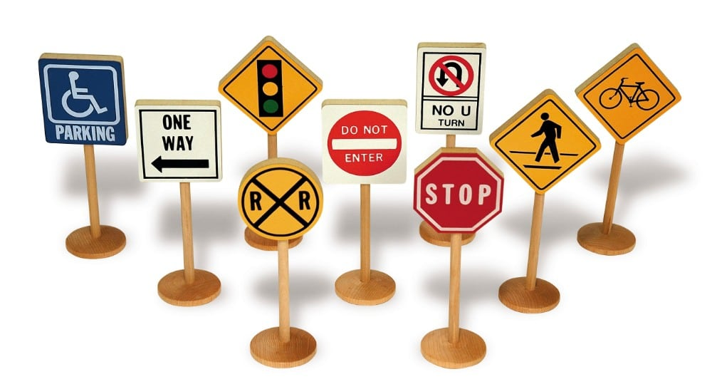 tag toys wooden traffic signs toy