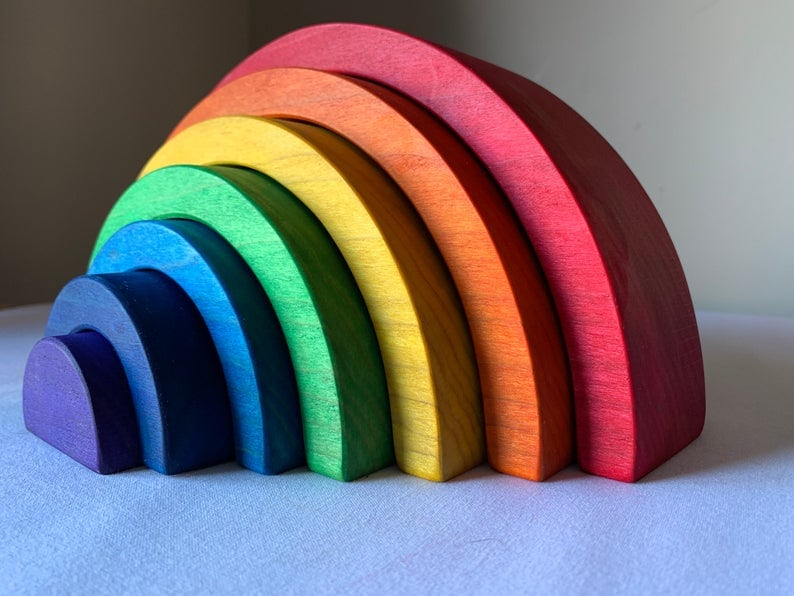 thick cut original color wooden rainbow toy