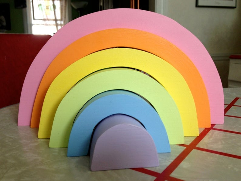 thick cut pastel wooden rainbow toy