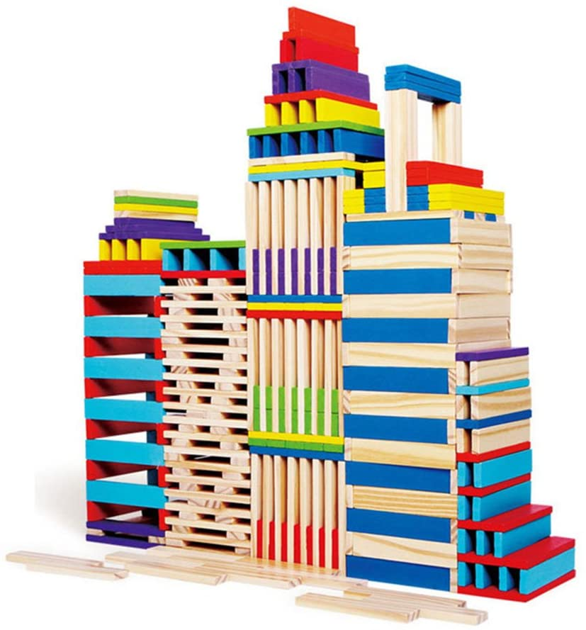 wooden building planks stacked like city skyscrapers