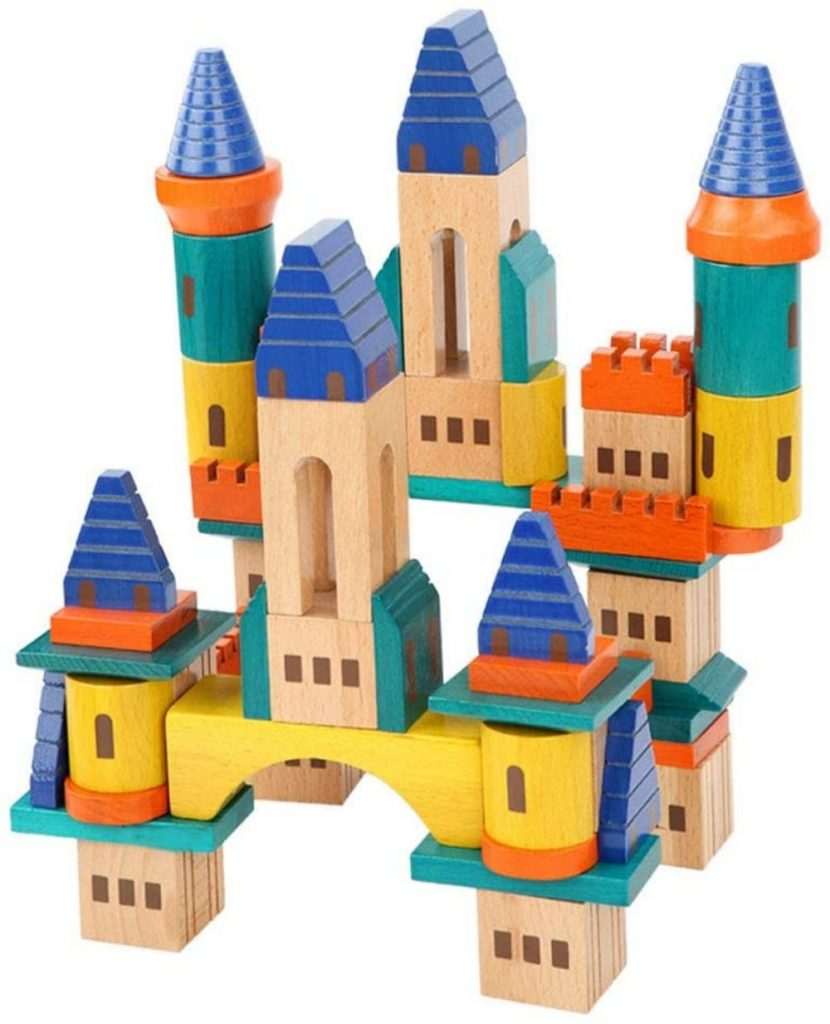 Baby wants brand wooden castle building blocks.