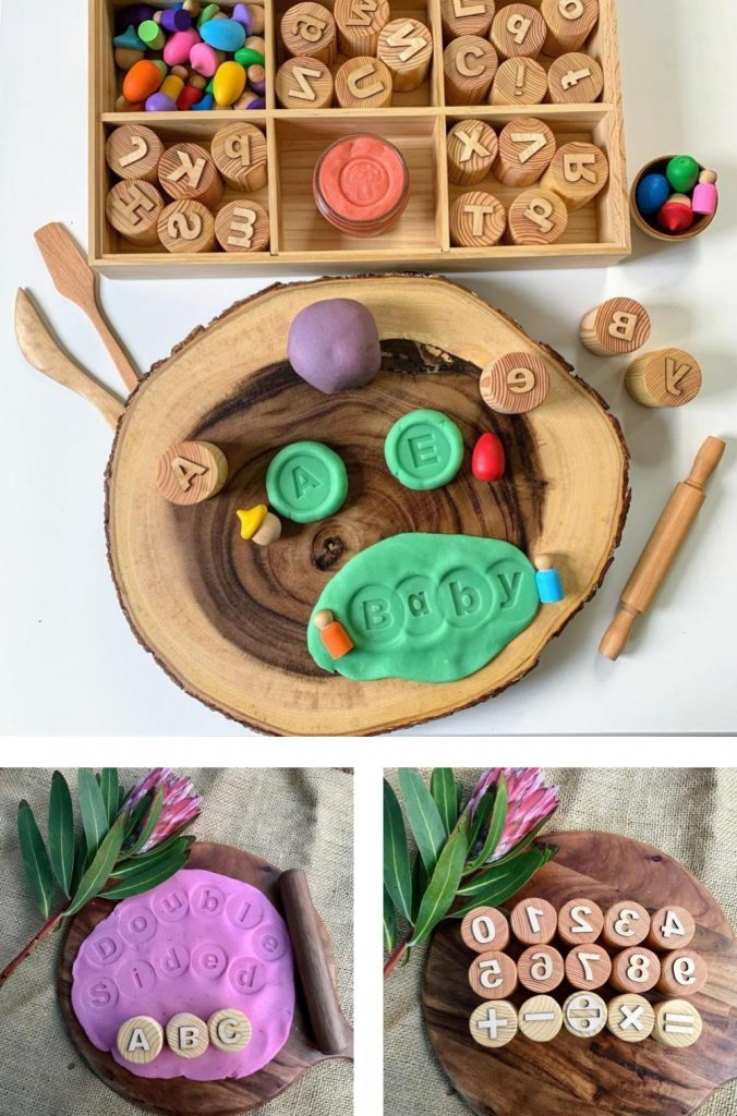 Chickadee Wooden Toys alphabet and number wooden playdough stamps for toddlers.