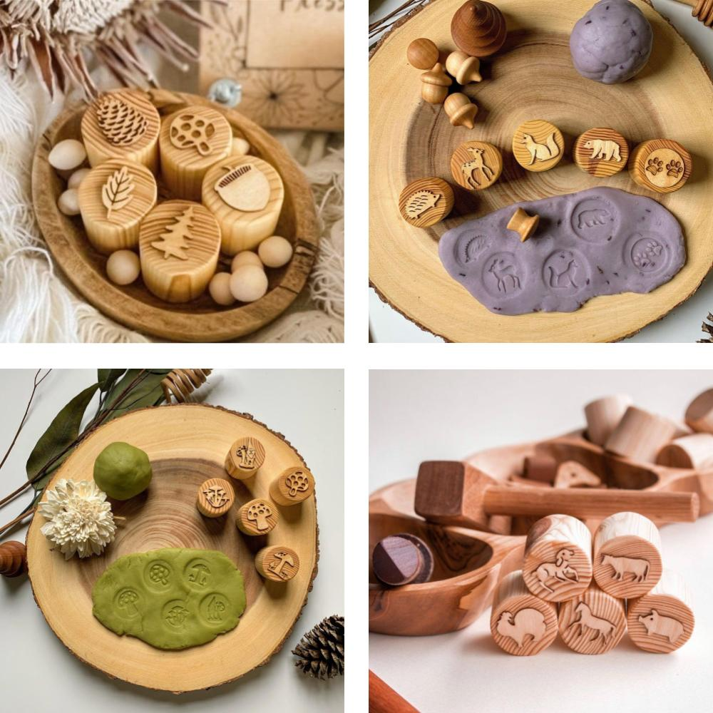 Chickadees Wooden Toys nature themed round playdough stamp wooden blocks.