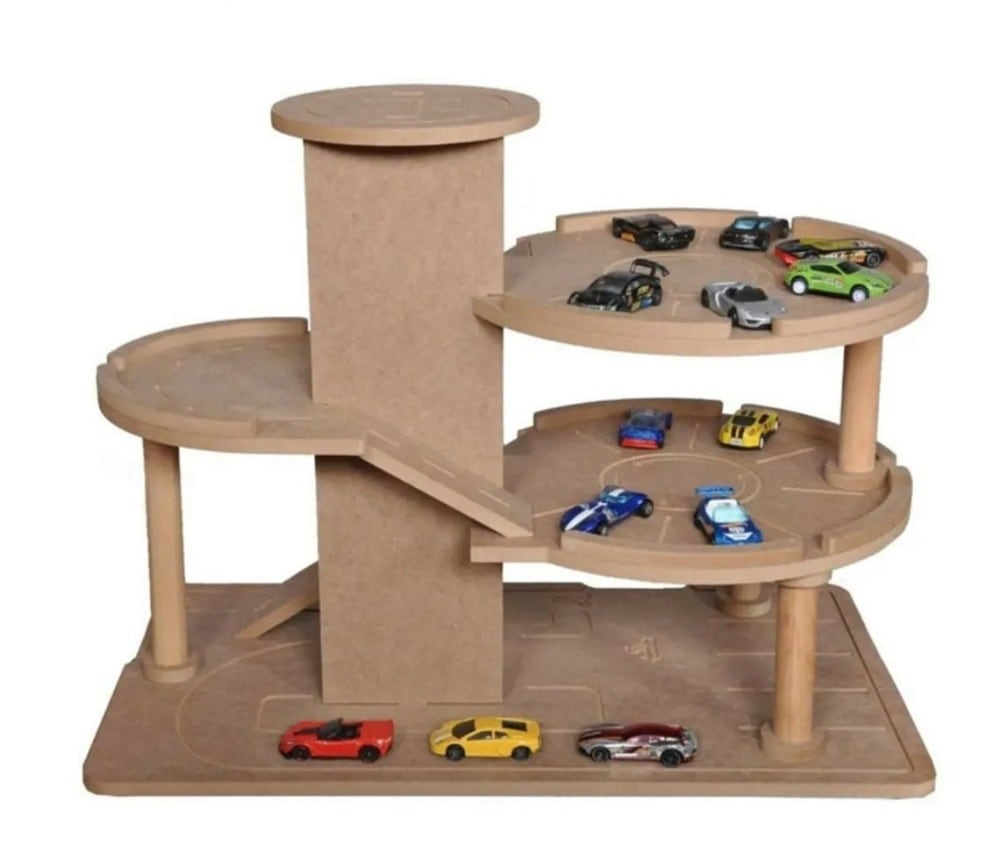 Decorative Wood Hobby brand unfinished DIY wooden garage toy for crafts.