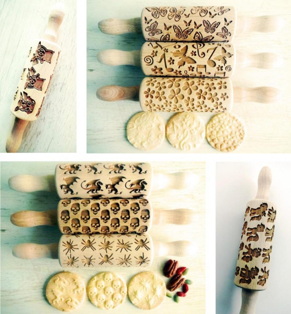 Dough Rollers brand laser-engraved wooden kids rolling pins for play dough.