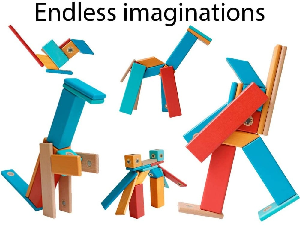 DreamBuilder wooden magnetic building blocks.