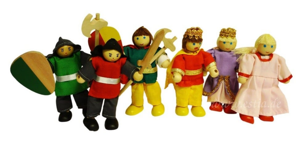Estia Holzspiel Design brand six wooden bending dolls set with a king, a queen, a princess, and some soldiers.