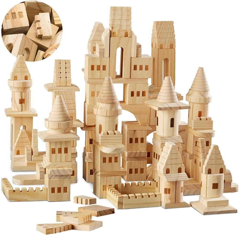 FAO Schwarz brand wooden castle building blocks.