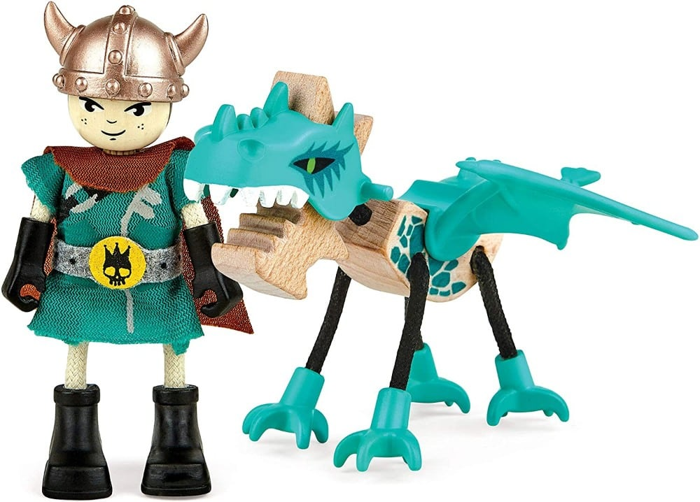 Hape Toys brand viking and dragon wooden figurines.