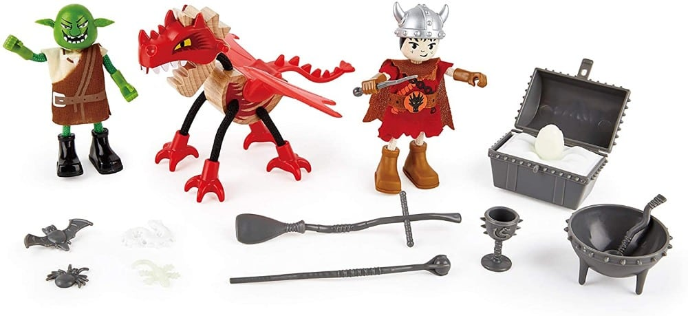 Hape Toys brand wooden figurines: ogre, dragon, and warrior.