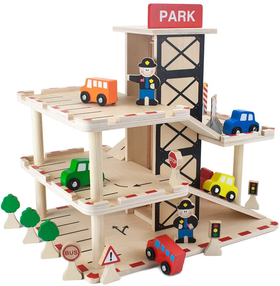 Imagination Generation brand downtown deluxe wooden parking garage with elevator.