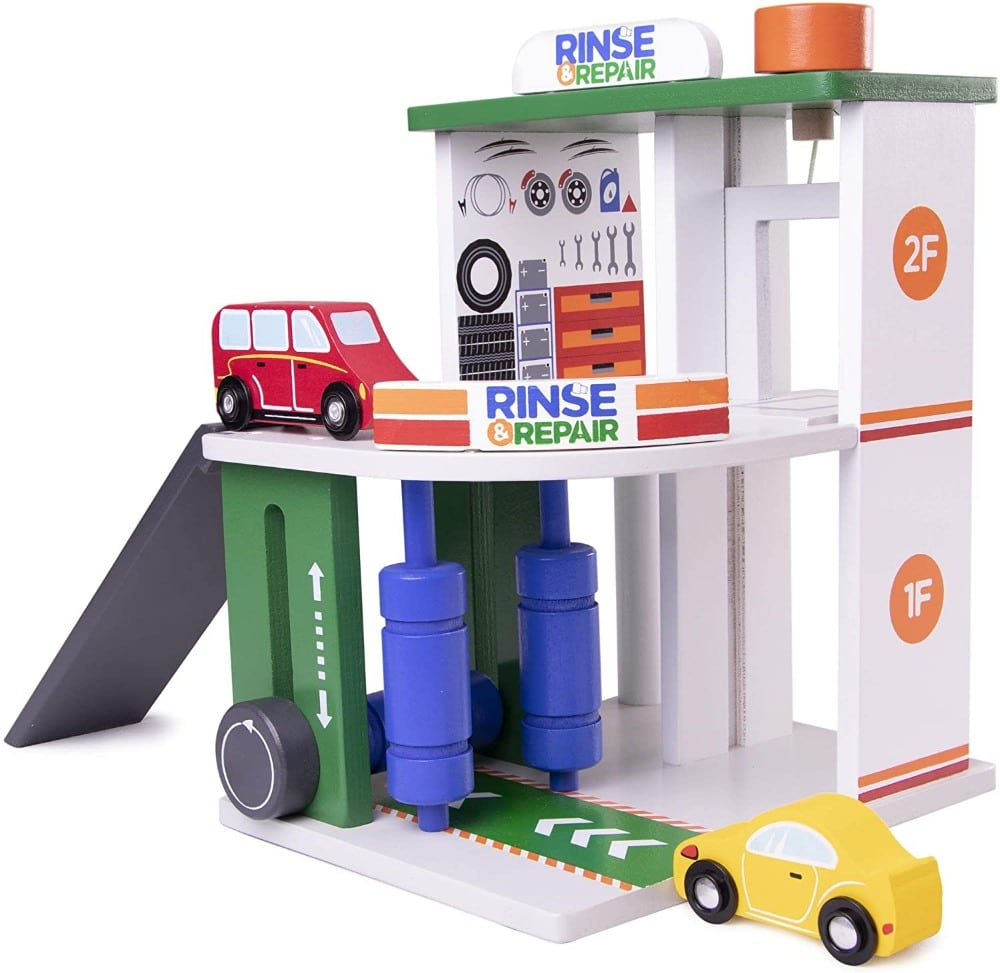 Imagination Generation brand rinse and repair wooden car wash and service station role-play toy.