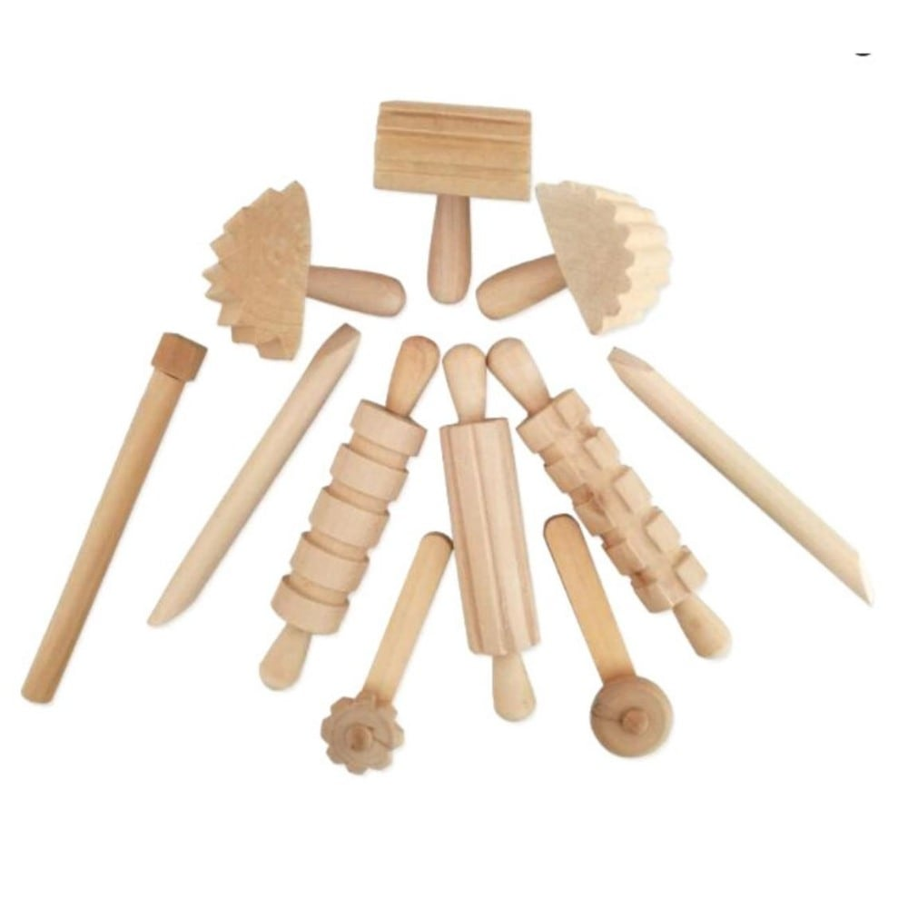 Inspired Tots brand natural wood play dough tools kit.