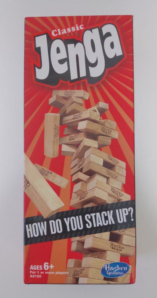 Front of Jenga Classic packaging.