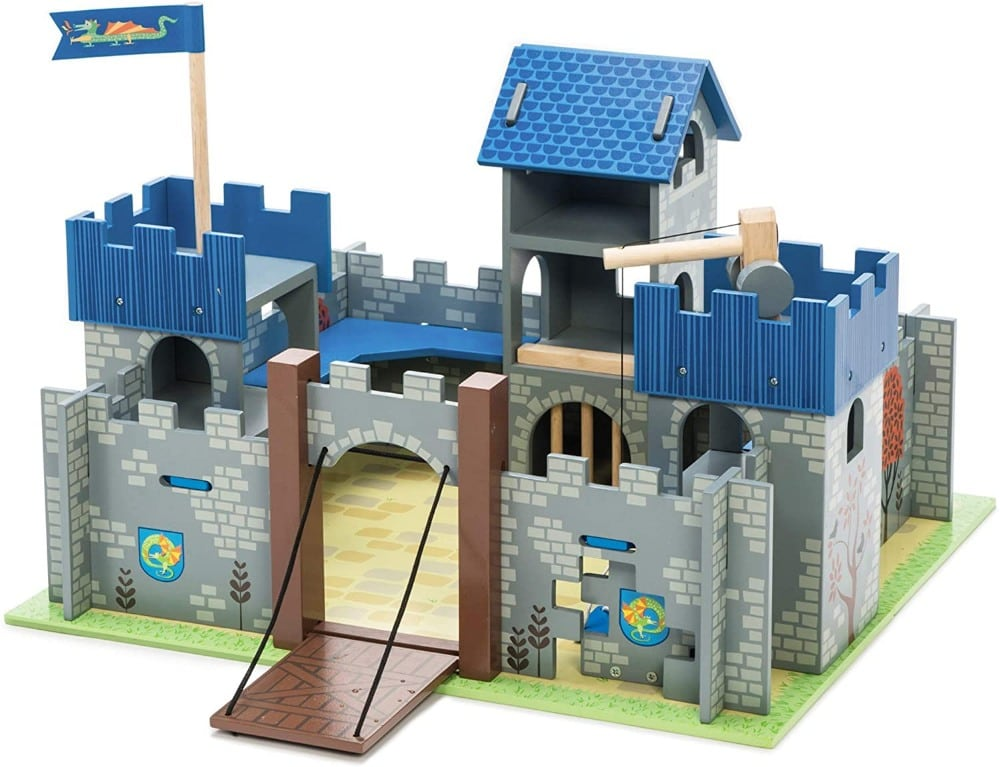 Le Toy Vanbrand blue educational wooden toy castle with figurines.