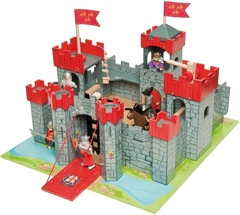 Le Toy Vanbrand red educational wooden castle toy with figurines.