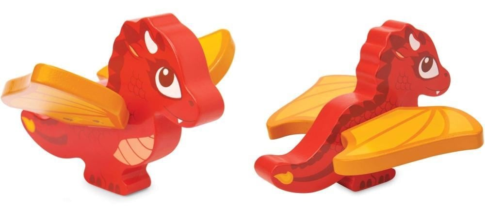 Le Toy Vanbrand red wooden dragon figurine.