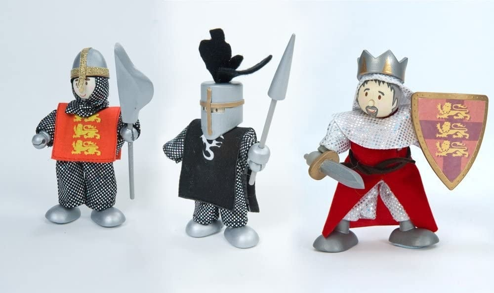 Le Toy Van brand wooden budkins figurines in the shape of king, knight, and crusader with silver helmet.