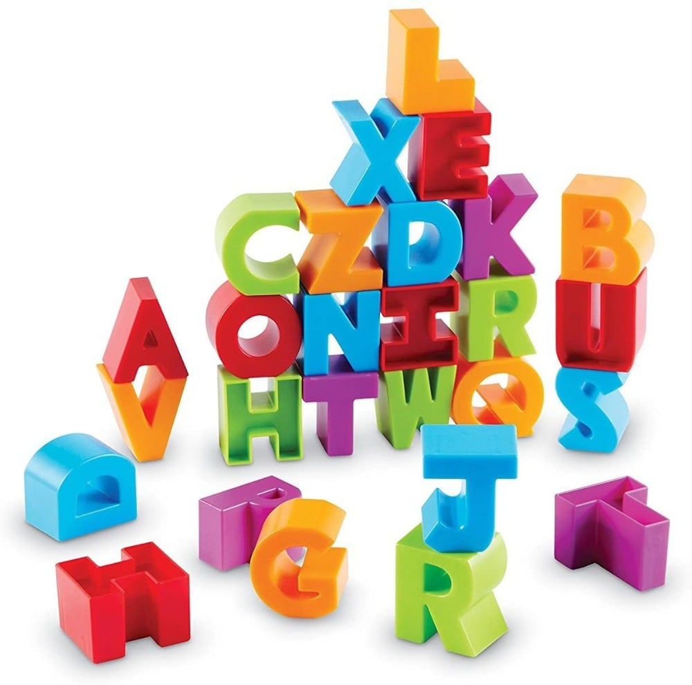 Learning Resources brand wooden alphabet building blocks.