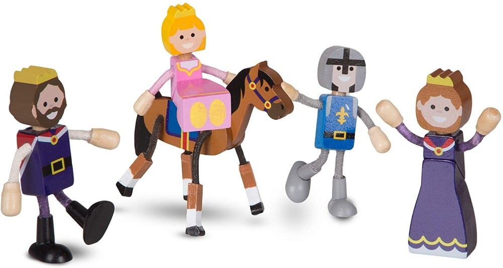 Melissa & Dougbrand flexible wooden dolls: king, queen, princess, prince, and horse.