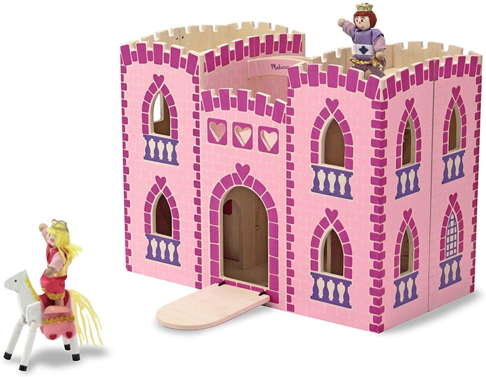 Melissa & Dougbrand foldable wooden castle with a princess, a prince, and two ponies.