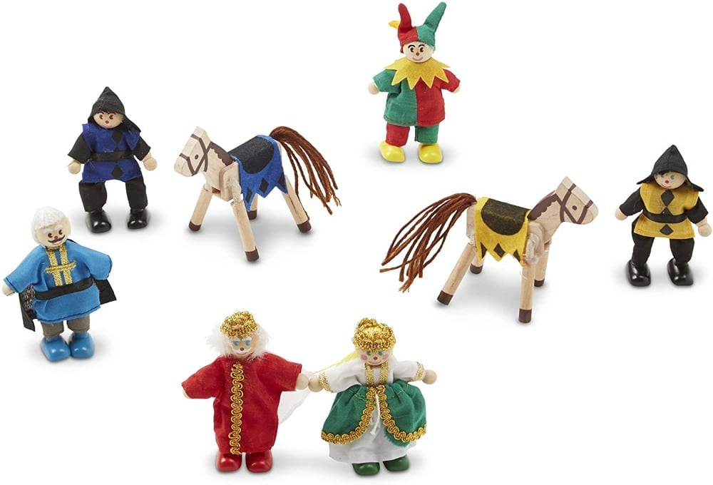 Melissa & Dougbrand posable wooden dolls: king, queen, priest, jesters, and horses.