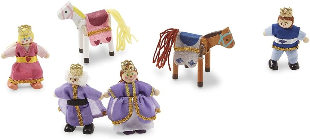 Melissa & Dougbrand royal family clothed wooden figurines: king, queen, princess, and prince.