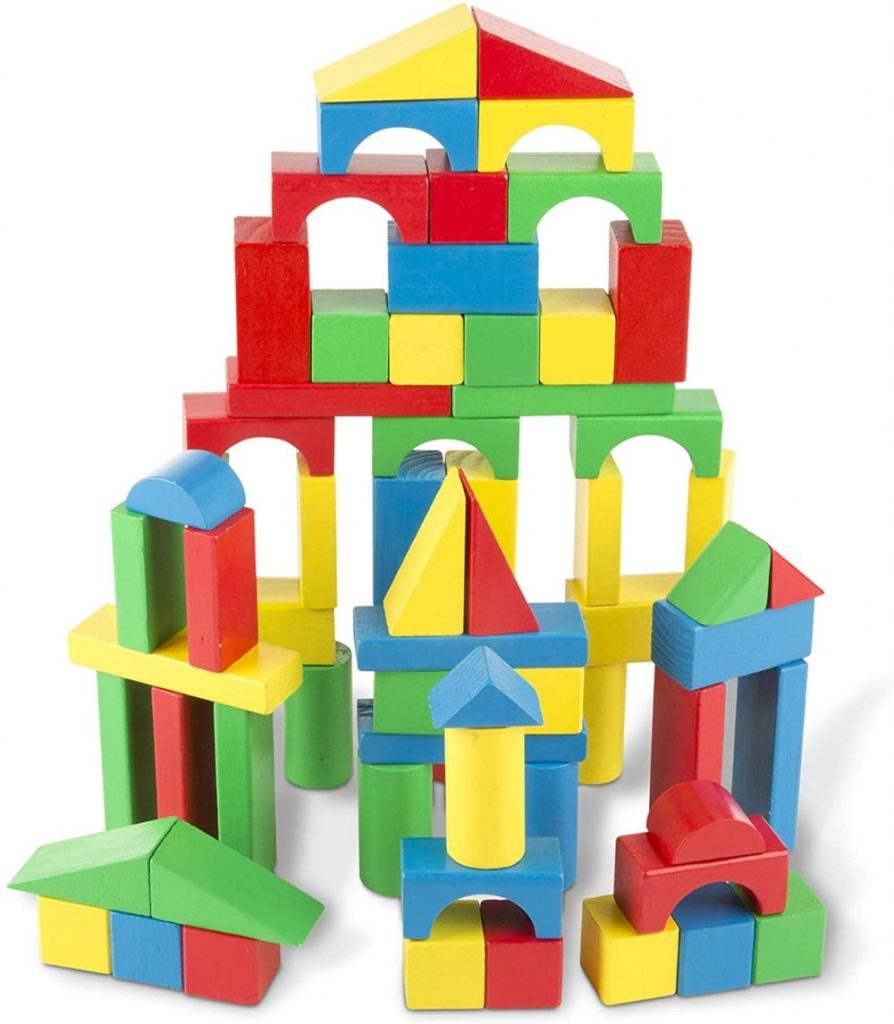 Melissa & Doug brand wooden building blocks.