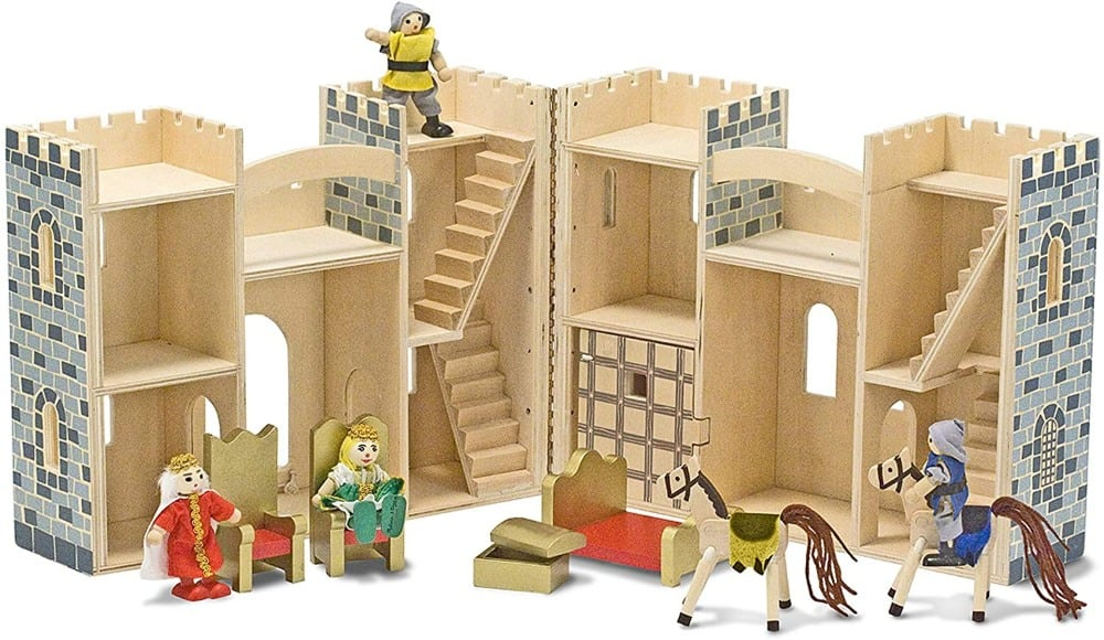 Melissa & Dougbrand wooden castle unfolded displaying interior rooms.