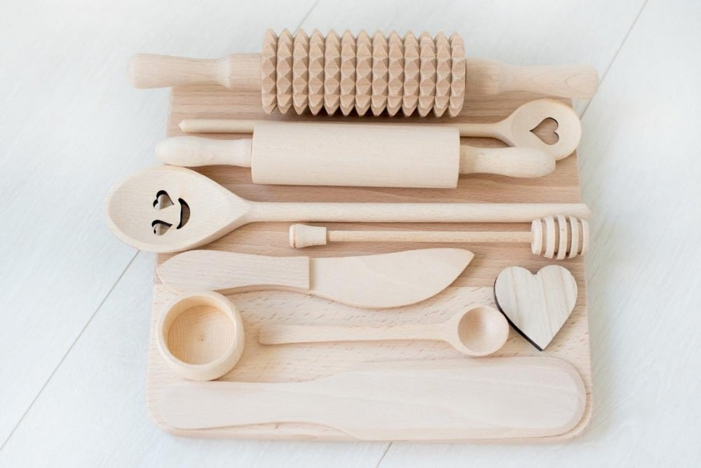 montessorian brand wooden play dough kitchen tool kit for role play 1