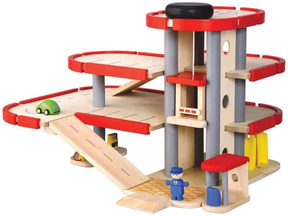 Plan Toys brand three-story wooden parking garage.