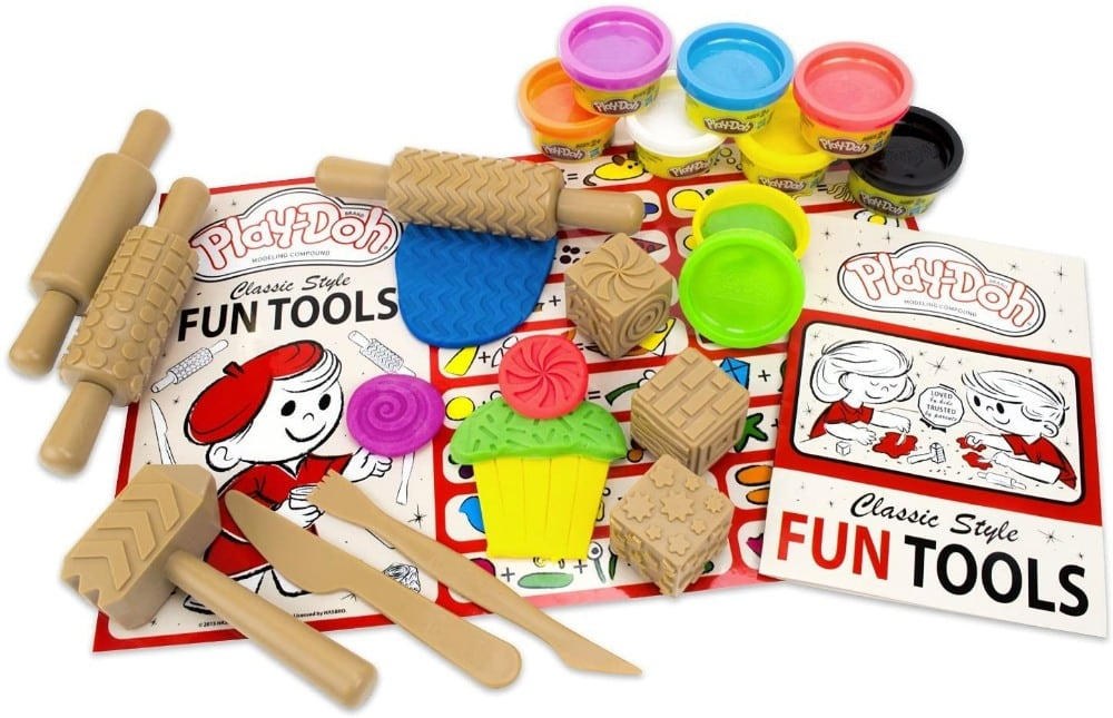 Play doh classic tool set with wood colored plastic tools.