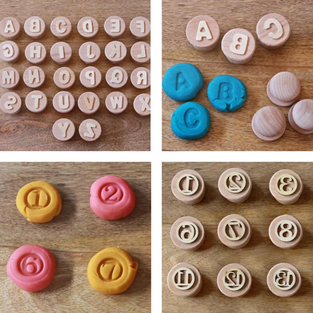 Reverie Kids Shop letters and numbers wooden stamps for playdough.