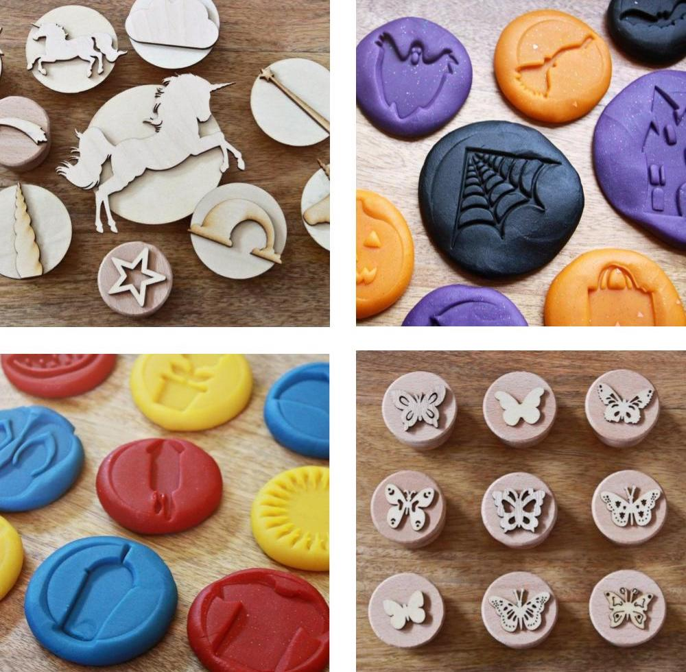 Reverie Kids Shop themed wooden dough stamp: toy, unicorn, halloween, beach, and butterfly.