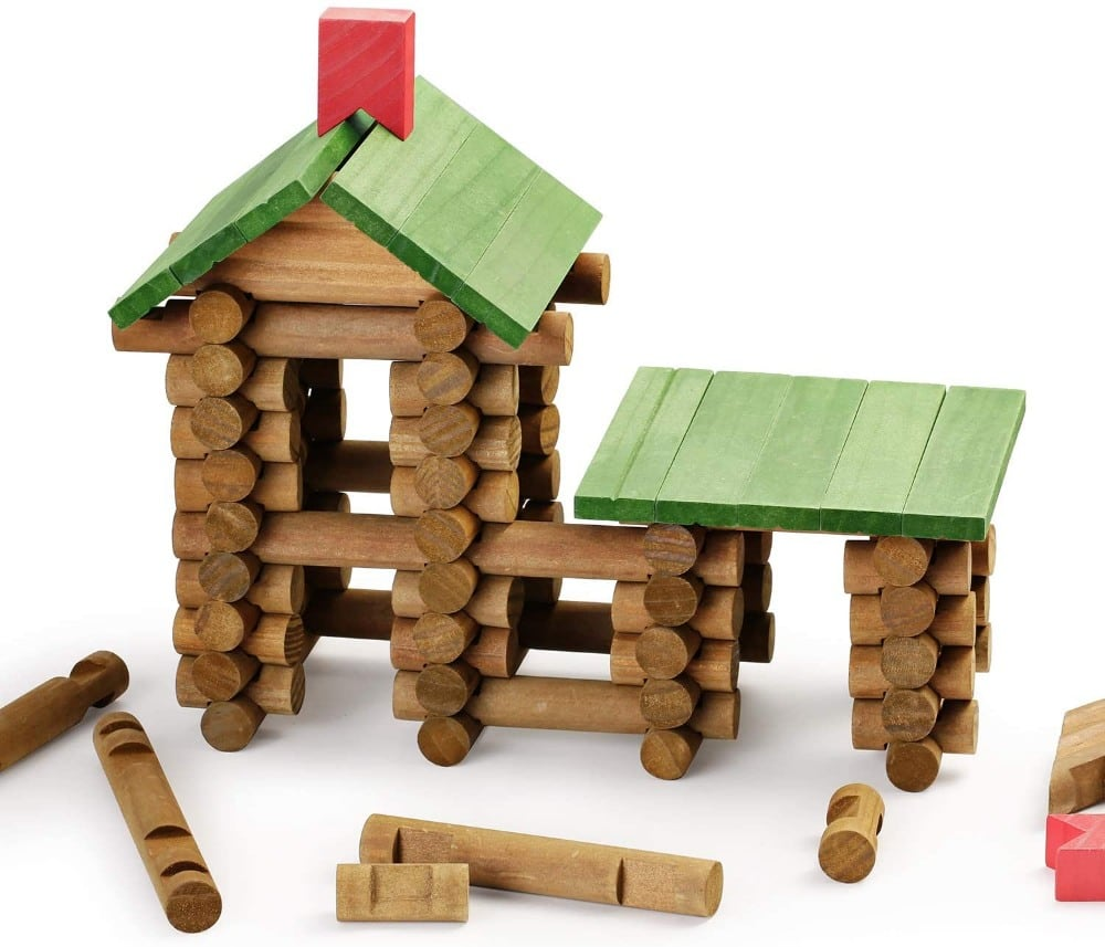 SainSmart Jr brand wooden log cabin building blocks.