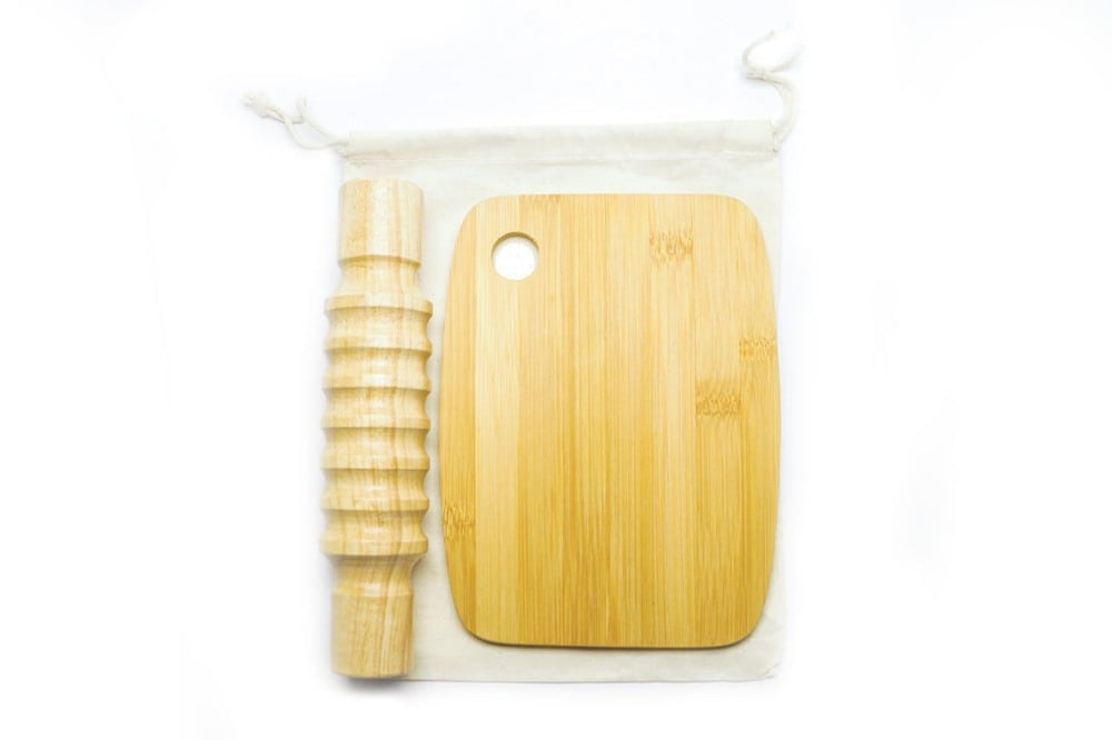 Simply To Play starter playdough playset with wooden rolling pin and cutting board.