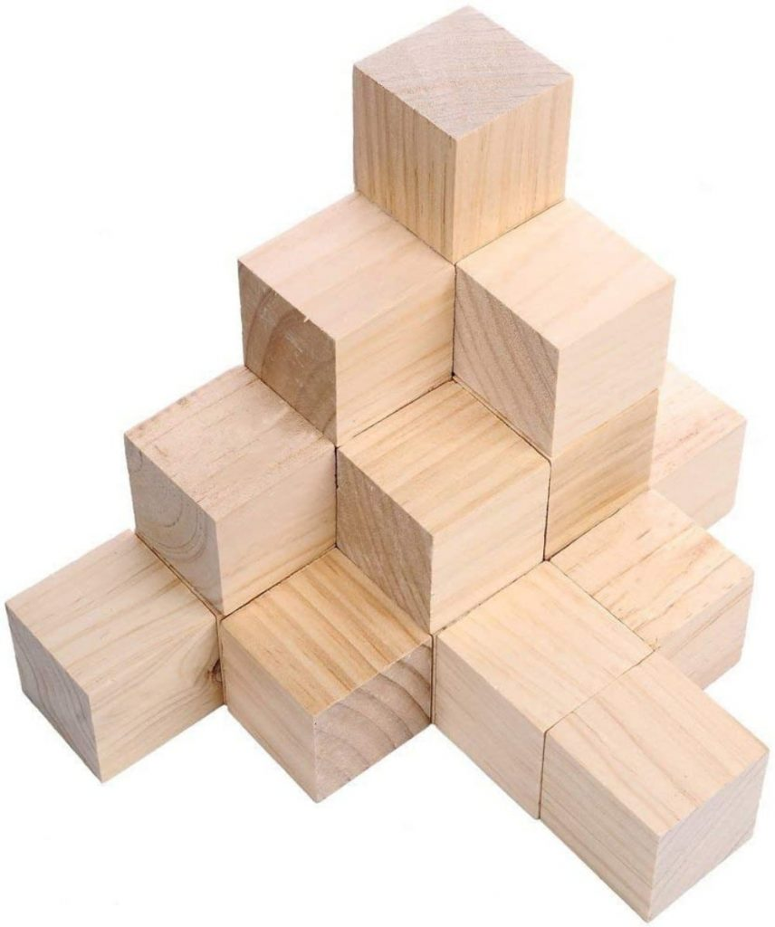 Supla brand unfinished wooden building blocks for crafts.