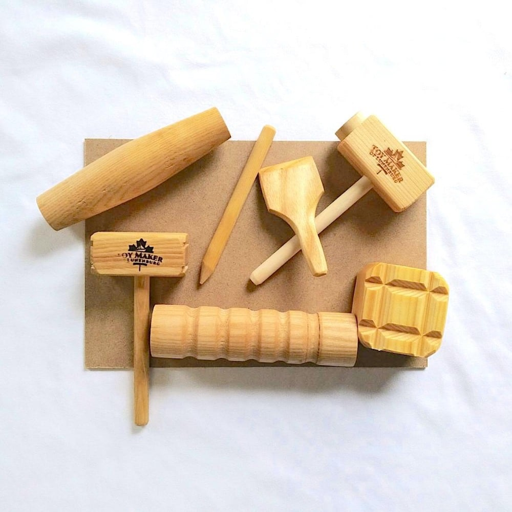 Toy Maker of Lunenburg heavy duty children's playdough toolset with wooden hammers and mallets.