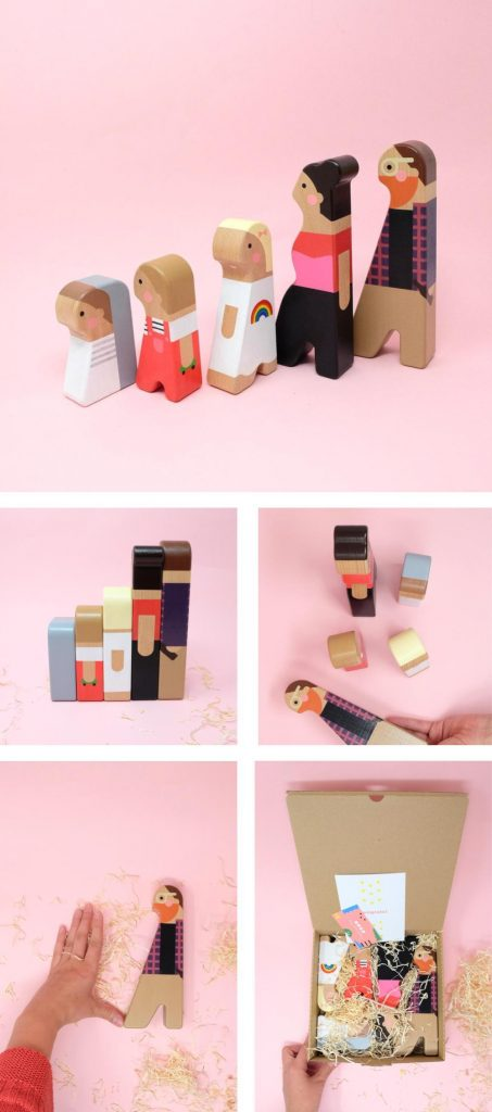 trendy wooden family figurines etsy design awards finalist