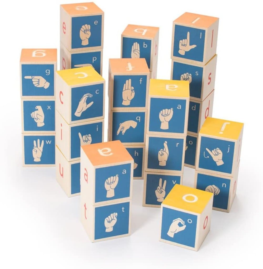 Uncle Goose sign language wooden alphabet building blocks.