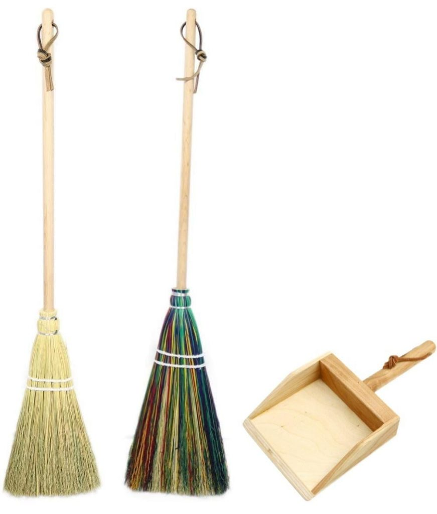 Camden Rose Kids Sized Wooden Brooms And Dustpan