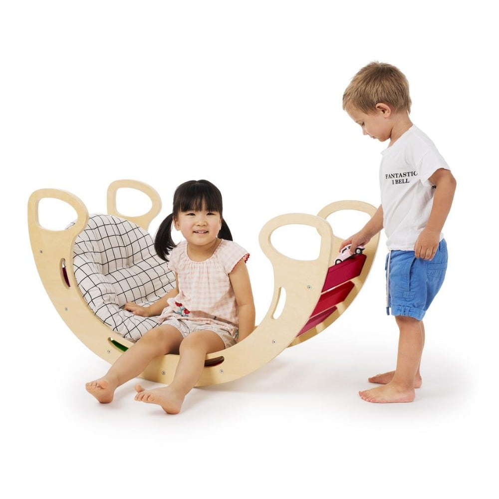 Cassaro wooden pikler arch climbing and rocking play toy.