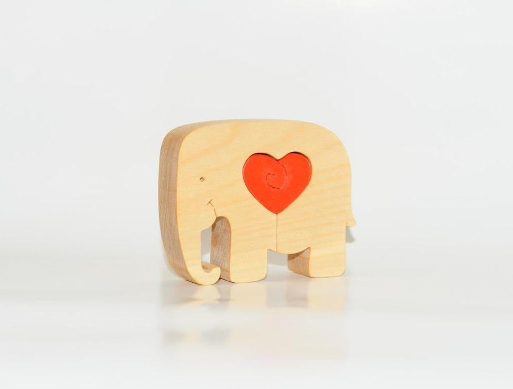 Ecopuzzle Small Wooden Elephant Puzzle With Red Heart