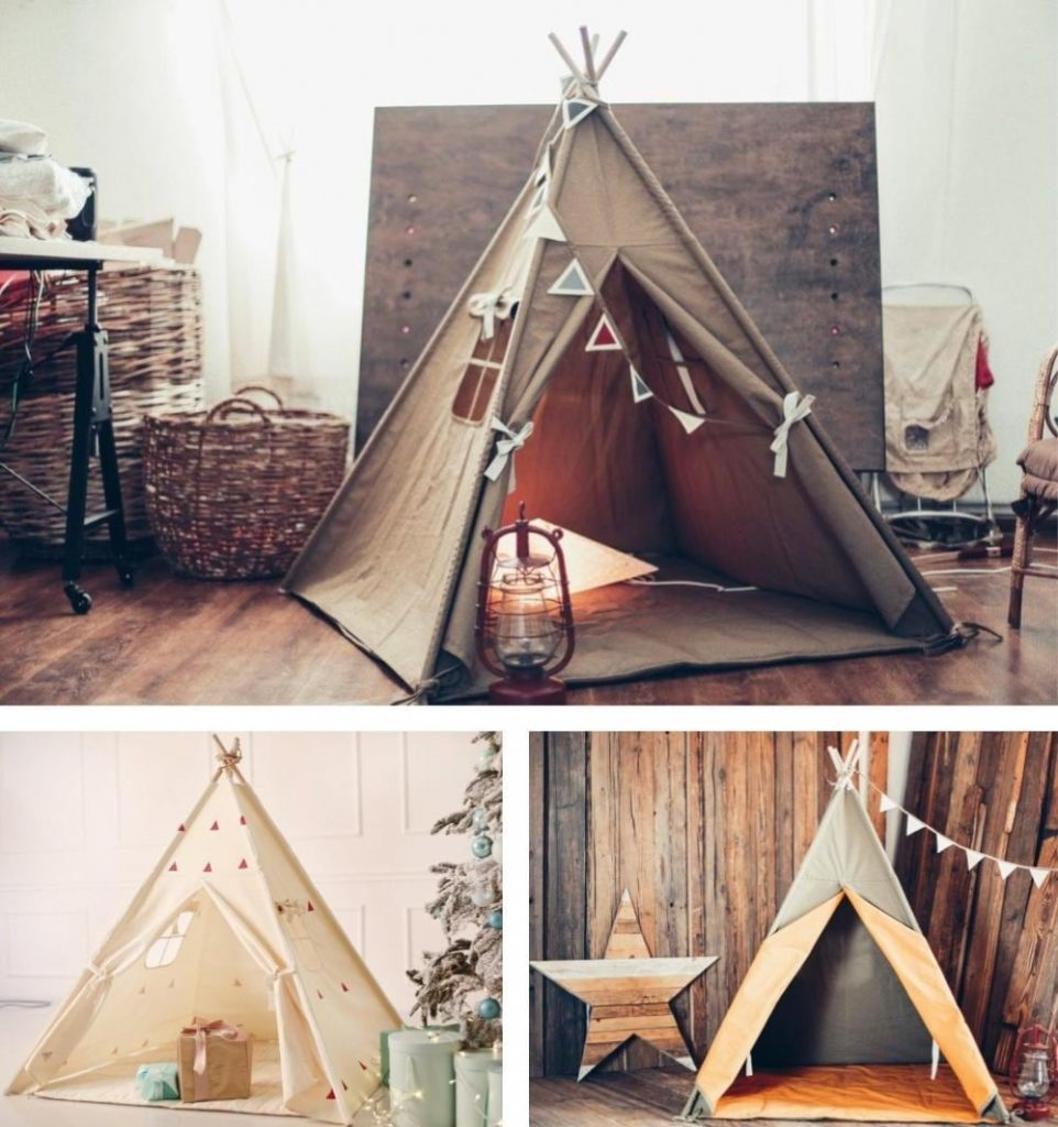 Hand Printed Children Wooden Play Tents By Cocoon Brand