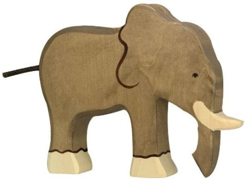 Holztiger Elephant Wooden Figure Toy With Trunk And Tusks
