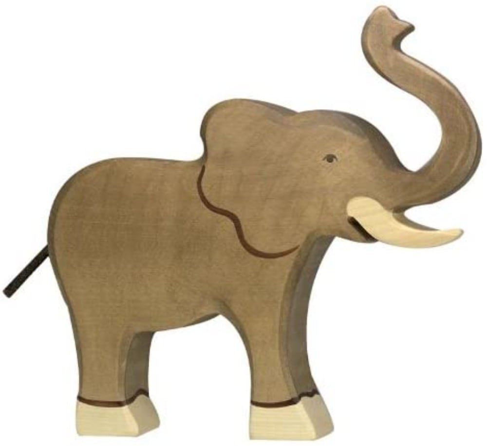 Holztiger Wooden Elephant Figure For Kids With Trunk And Tusks